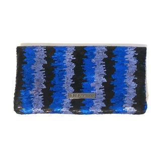 Black and blue sequin clutch evening bag